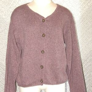 Eddie Bauer Women's Purple Knit Button-Up Cardigan